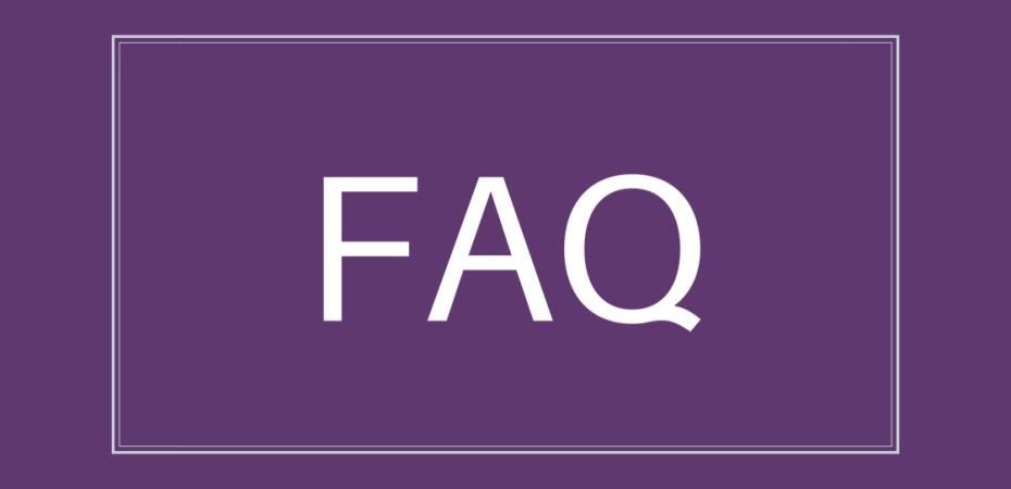 White text on purple background reads 'FAQ'
