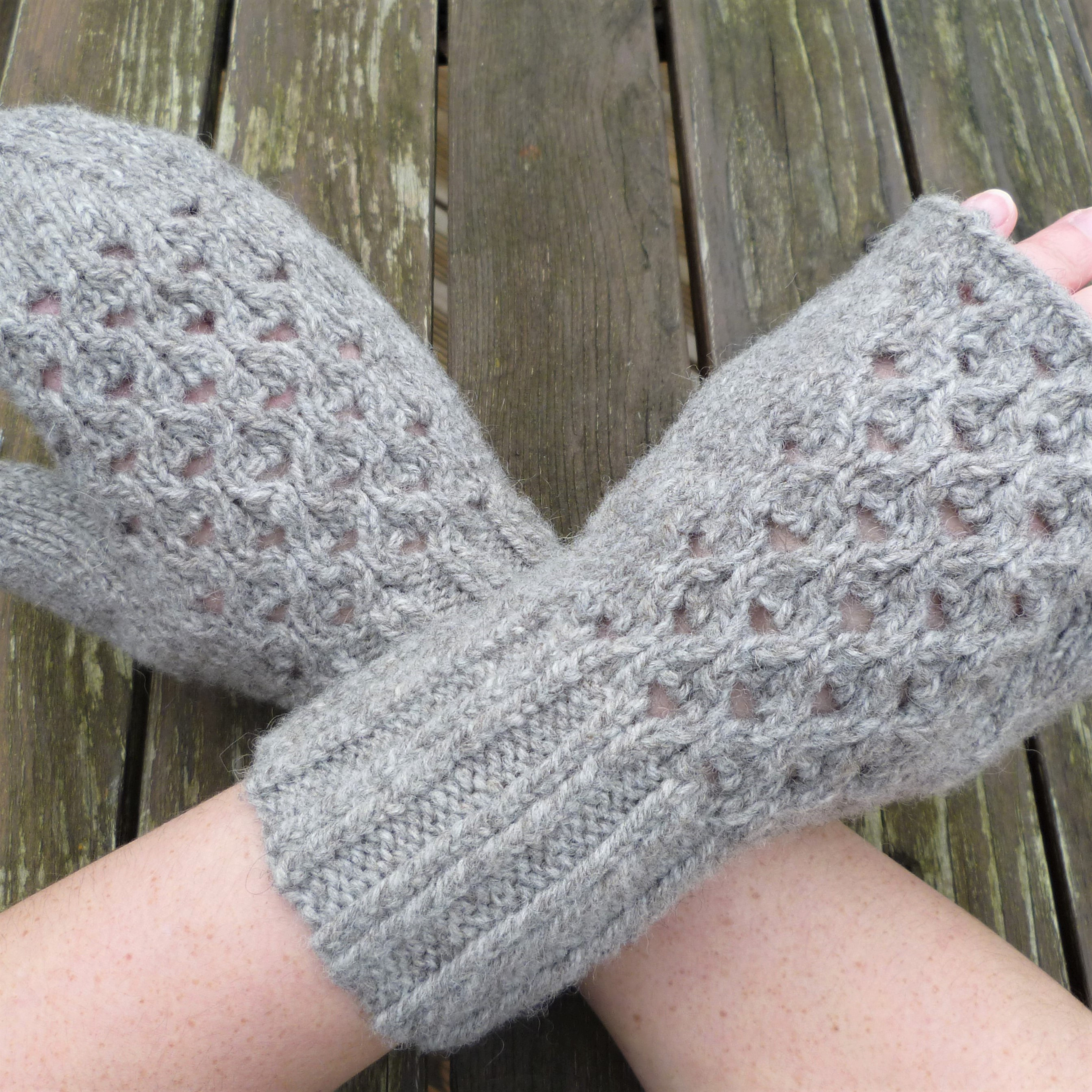 Lace mittens in grey British wool yarn. Pattern for full mitten and fingerless mitts in 3 adult sizes. Low vision version available.